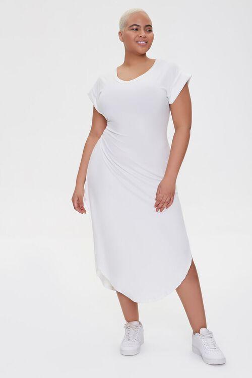 WHITE Plus Size Scoop-Hem Bodycon Dress, image 1