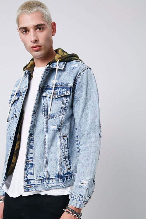 Camo Hooded Sunbleached Denim Jacket, image 1