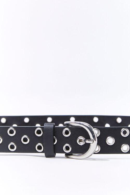 BLACK Faux Leather Grommet Belt, image 3