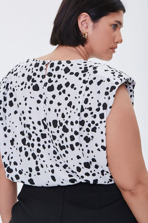 Plus Size Spotted Print Crop Top, image 3
