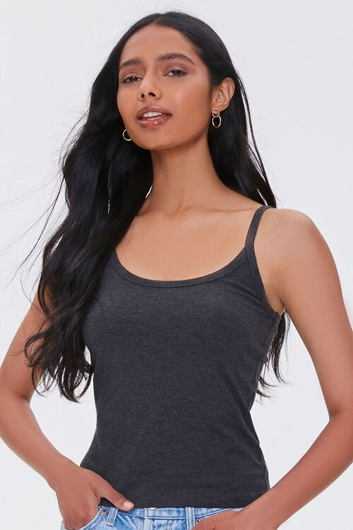 CHARCOAL HEATHER Organically Grown Cotton Scoop Neck Cami, image 5