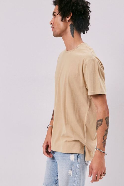 High-Low Vented Crew Neck Tee, image 2