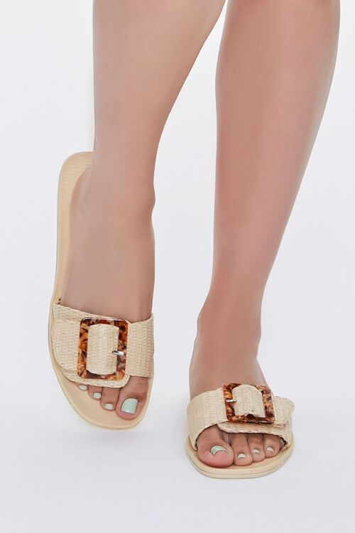 Buckled Straw Flat Sandals, image 4
