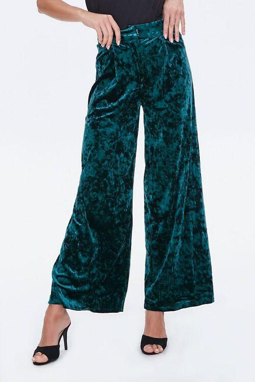 HUNTER GREEN Crushed Velvet High-Rise Flare Pants, image 2