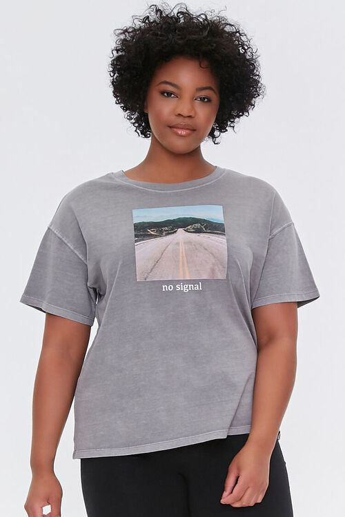 TAUPE/MULTI Plus Size No Signal Graphic Tee, image 1