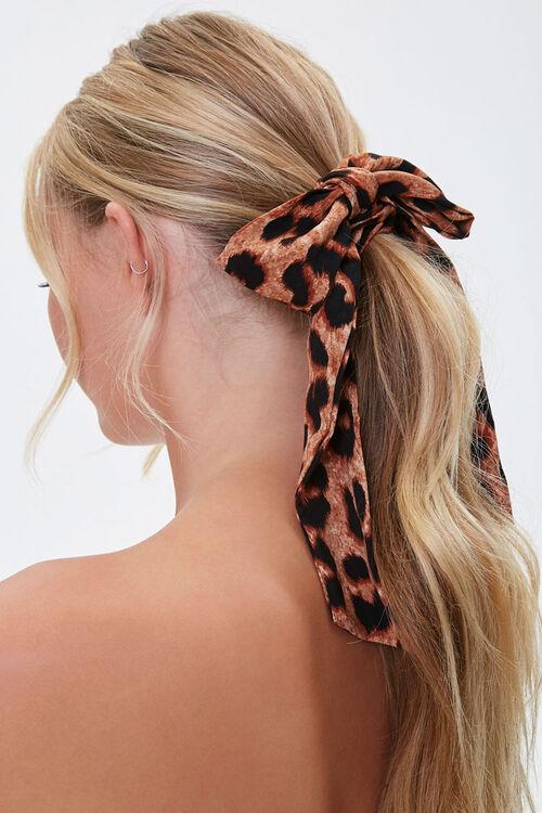 Leopard Print Bow Scrunchie Set, image 1
