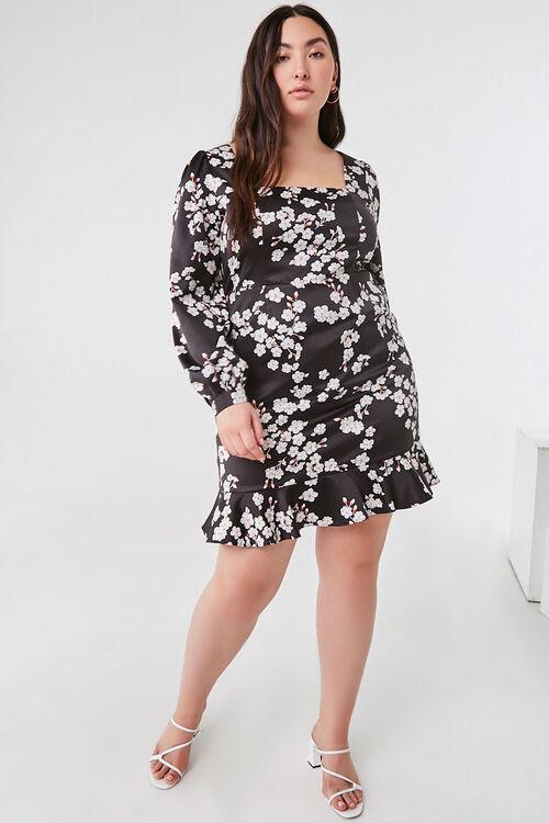 Plus Size Floral Satin Dress, image 4
