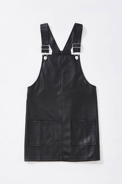 Girls Faux Leather Overall Dress (Kids), image 1