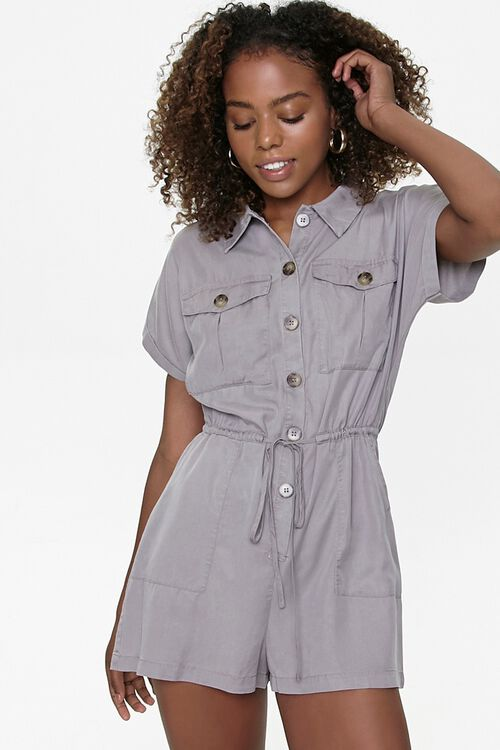 Button-Front Drawstring Romper, image 1
