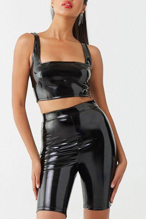 BLACK Faux Patent Leather Biker Shorts, image 1