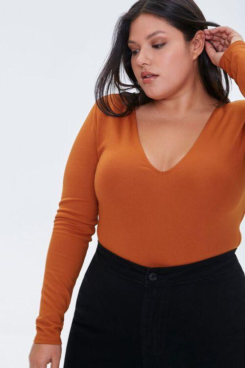Plus Size V-Neck Long-Sleeve Bodysuit, image 1