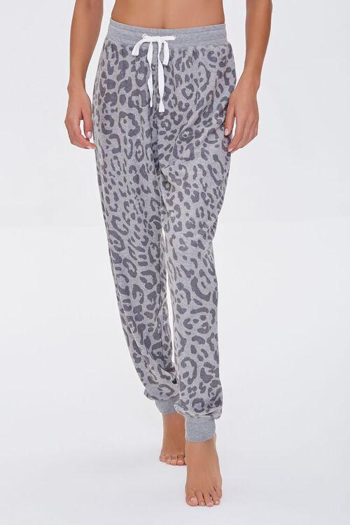 GREY/CHARCOAL Leopard Print Lounge Pants, image 2