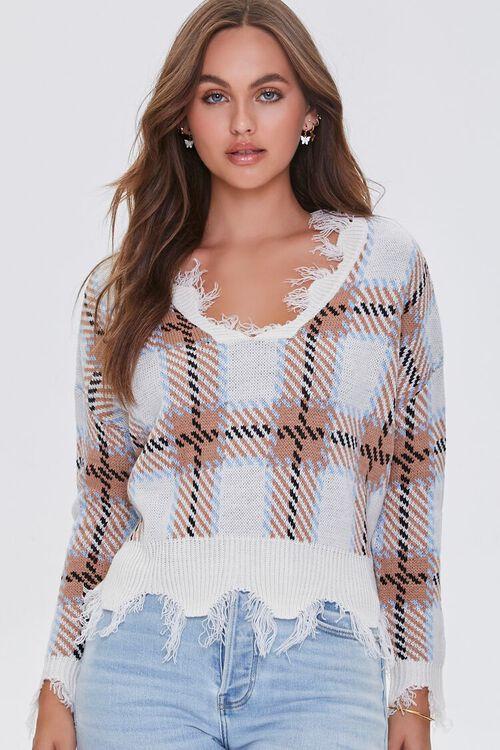 Frayed Plaid Sweater, image 1