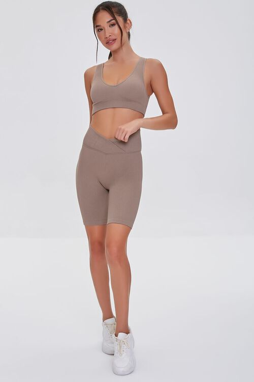 TAUPE Active Seamless Notched Biker Shorts, image 5