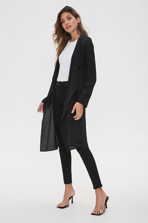 BLACK Crepe Drape-Front Trench Jacket, image 4