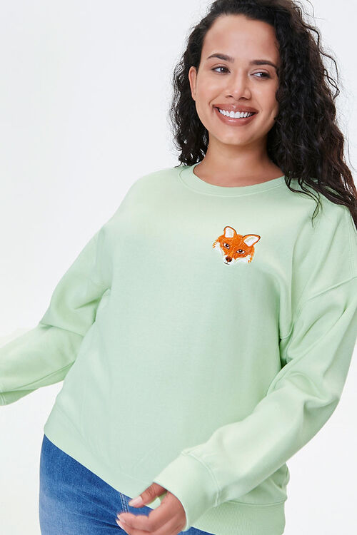 Plus Size Embroidered Fox Sweatshirt, image 1