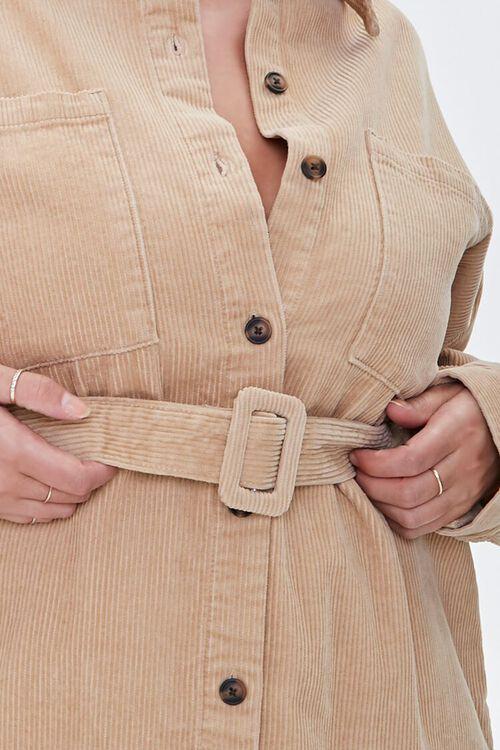 Plus Size Corduroy Belted Shacket, image 5