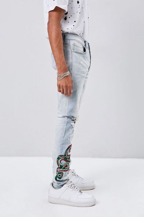 Embroidered Graphic Paint Splatter Jeans, image 3
