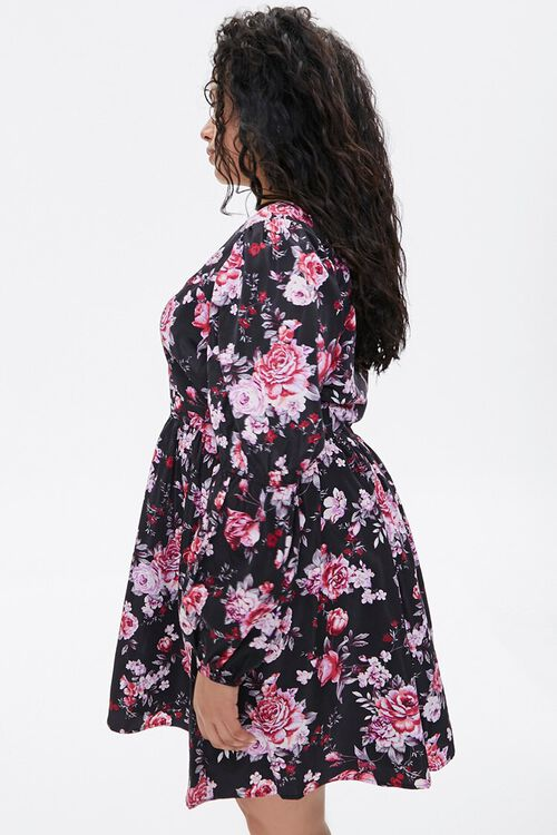 BLACK/PINK Plus Size Floral Fit & Flare Dress, image 2