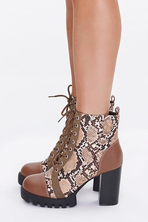 Faux Snakeskin Block Heel Boots, image 2