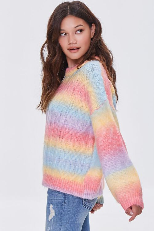 PINK/MULTI Colorblock Cable Knit Sweater, image 2