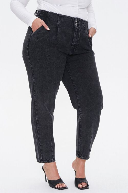 Plus Size Buckled Straight-Leg Jeans, image 2
