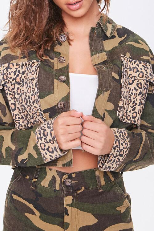 Camo Leopard Print Patternblock Jacket, image 5