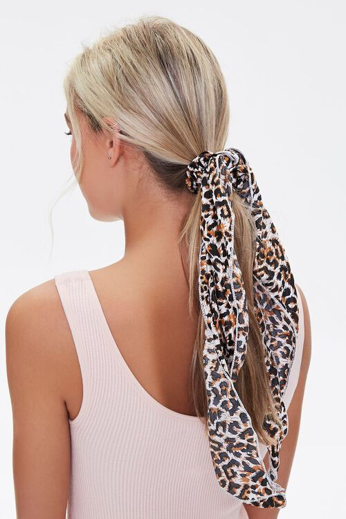 Leopard Print Bow Scrunchie, image 1