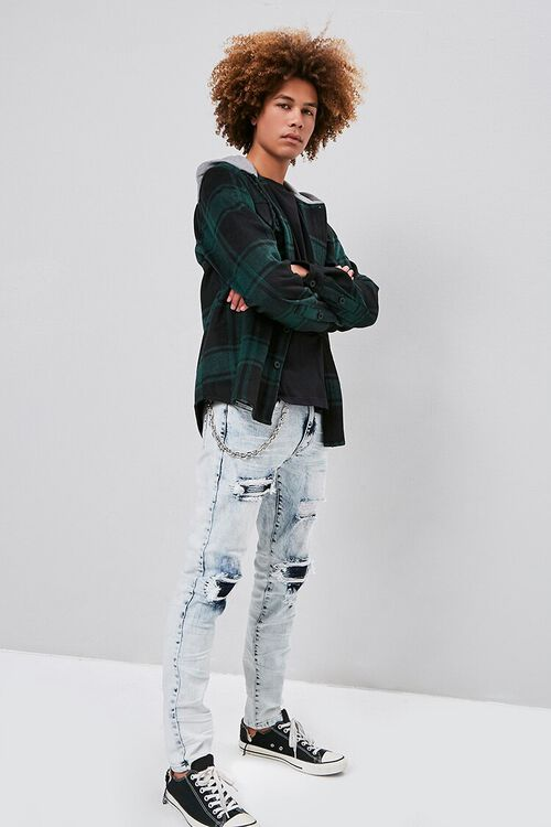 Distressed Bleach Wash Skinny Jeans, image 1