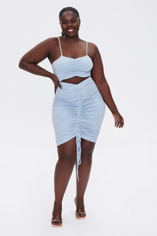 Plus Size Ruched Cami & Skirt Set, image 4