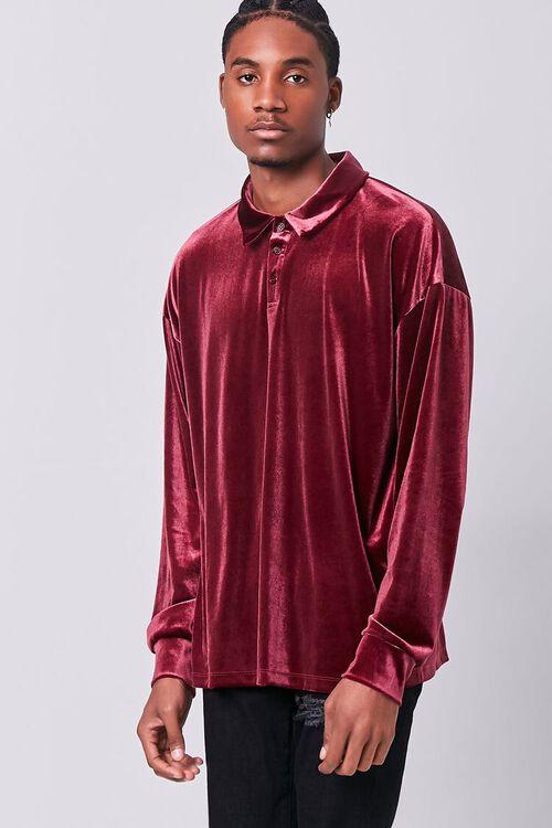 BURGUNDY Velour Long Sleeve Polo, image 1