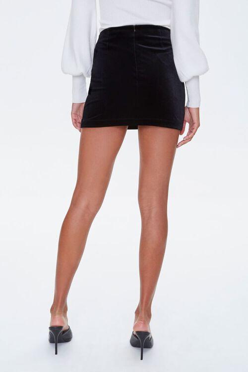 BLACK Lace-Up Velvet Mini Skirt, image 3