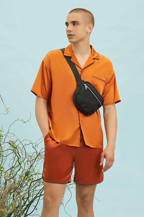 Satin Piped-Trim Shirt, image 1
