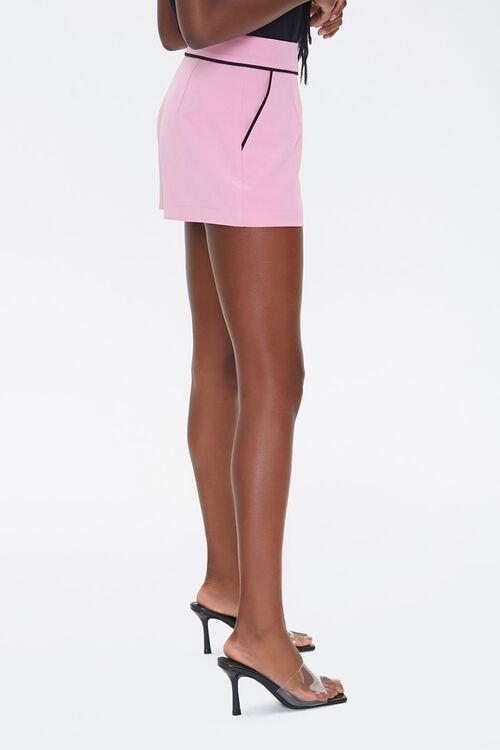 PINK/BLACK Piped-Trim Shorts, image 3