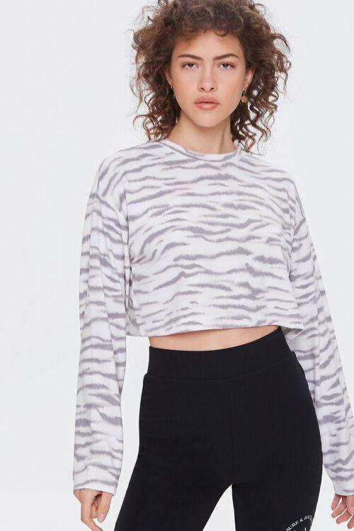 Tiger Striped Boxy Pajama Top, image 1