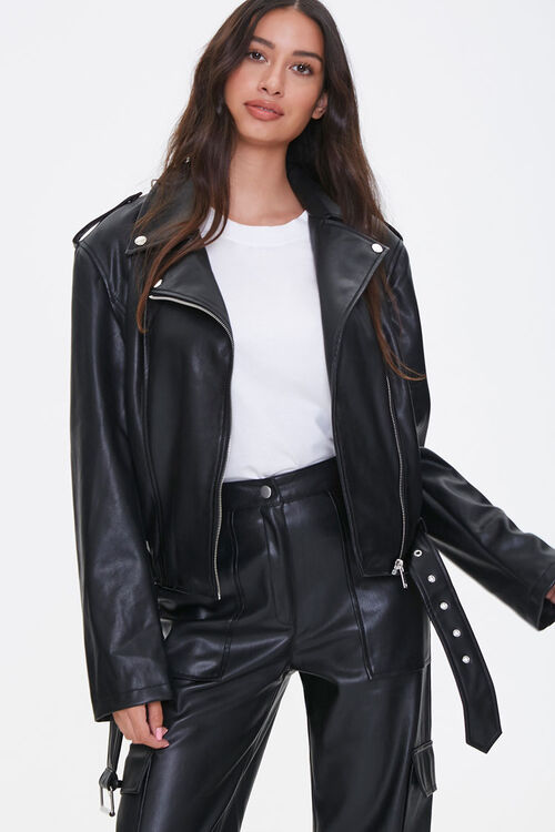 Faux Leather Belted Moto Jacket, image 1