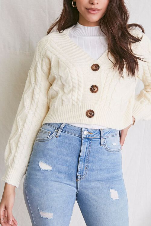 IVORY Cable Knit Cardigan Sweater, image 5
