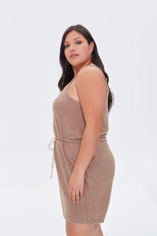 TAUPE Plus Size Cami Drawstring Romper, image 2