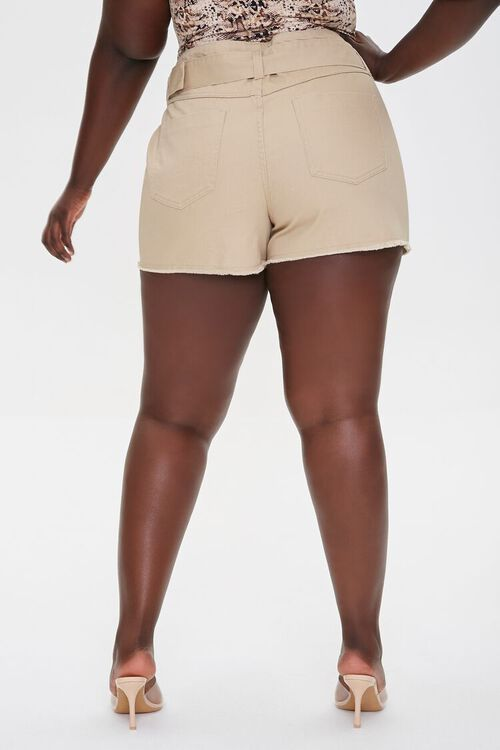 Plus Size Belted High-Rise Shorts, image 4