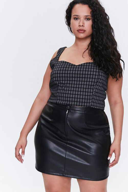 BLACK Plus Size Faux Leather Mini Skirt, image 1