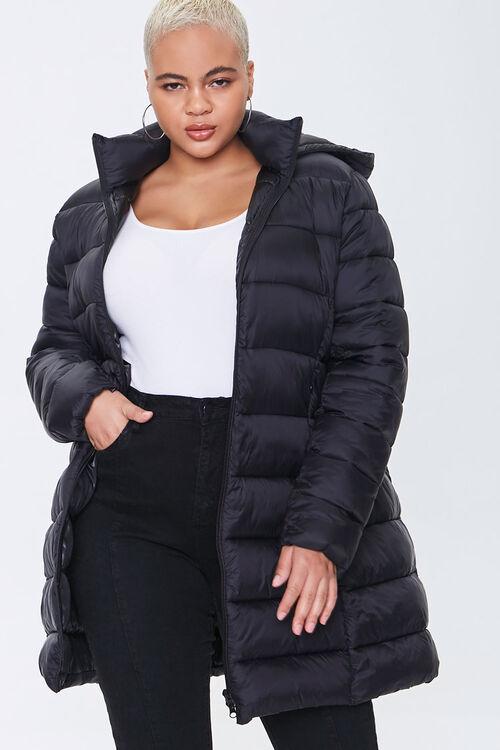Plus Size Hooded Longline Puffer Jacket, image 1