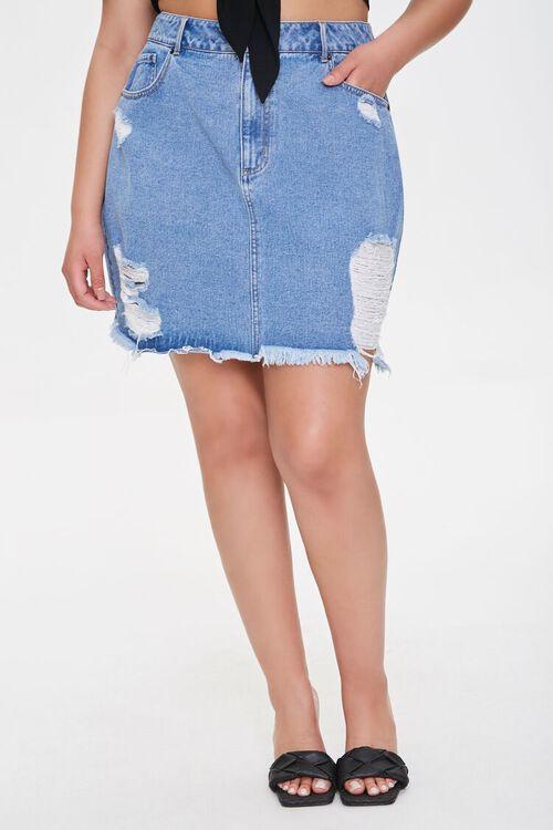 Plus Size Frayed Denim Mini Skirt, image 2