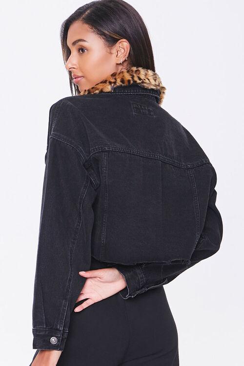 Faux Fur-Trim Denim Jacket, image 3