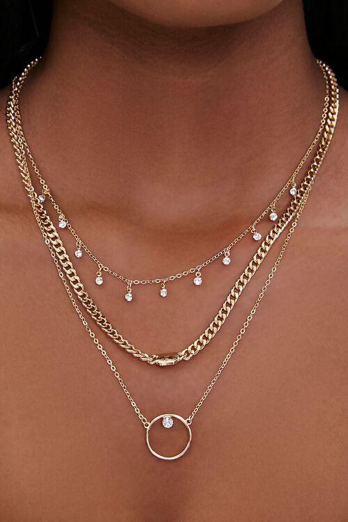 Rhinestone Charm Layered Necklace, image 1