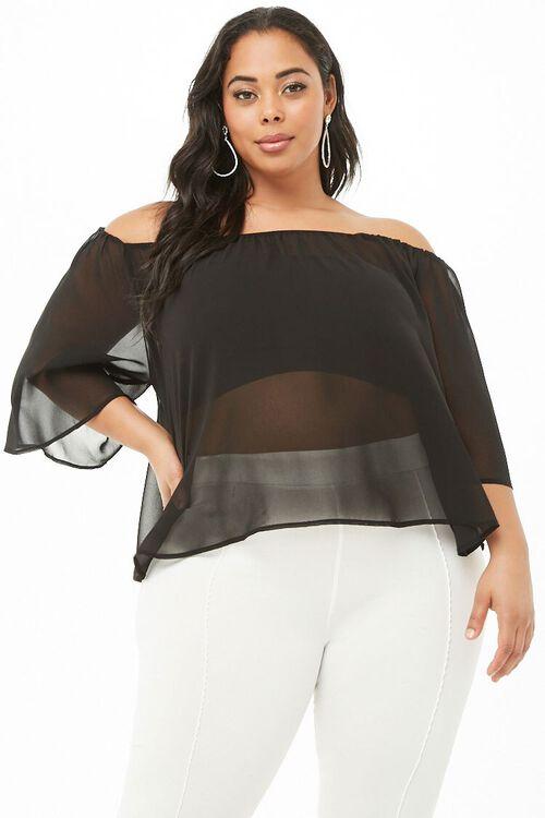 BLACK Plus Size Sheer Off-the-Shoulder Top, image 2