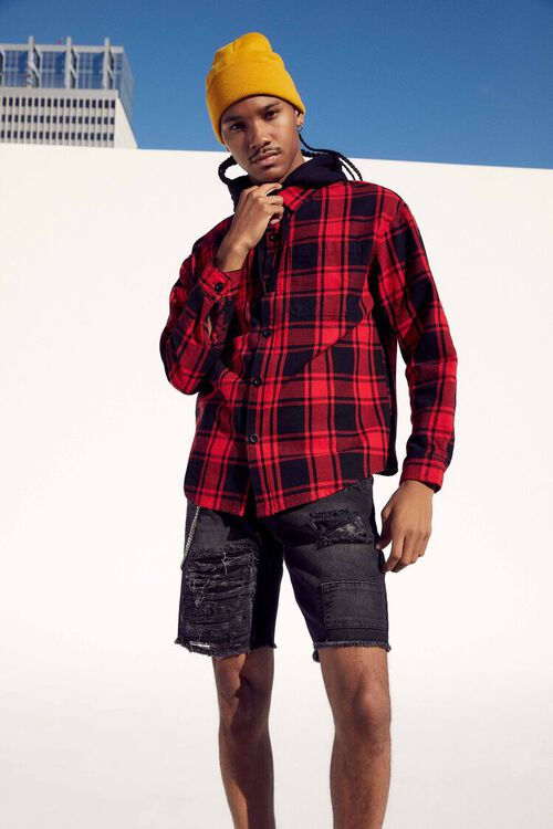 Plaid Buttoned Flannel Hoodie, image 1