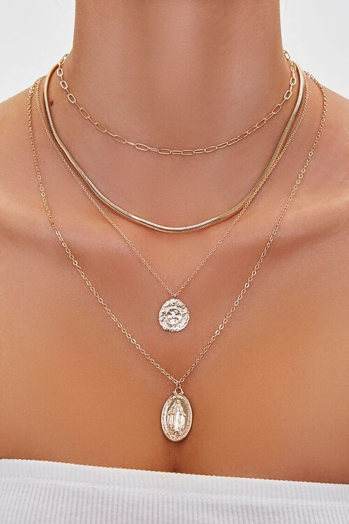 GOLD Religious Pendant Layered Necklace, image 1