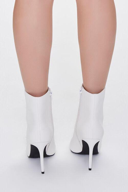 WHITE Faux Leather Stiletto Booties, image 3