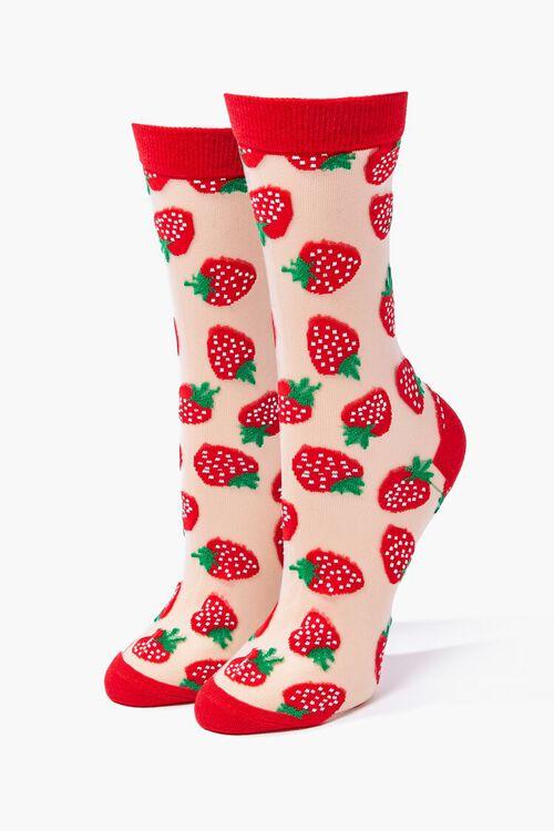 Sheer Strawberry Crew Socks, image 1