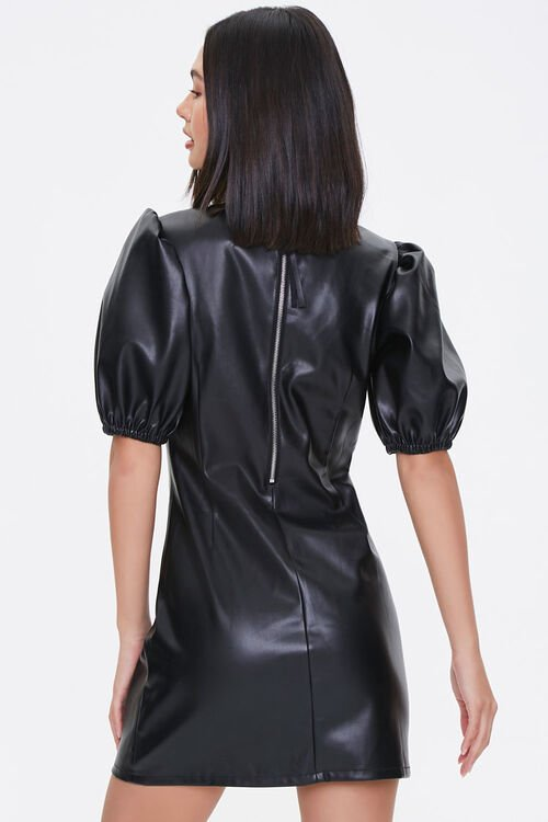 BLACK Faux Leather Puff-Sleeve Dress, image 3